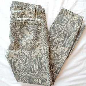 Current/Elliott Snake Print Ankle Skinny Jeans 26